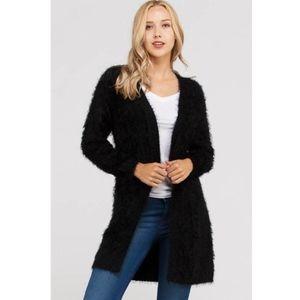 Sweaters - Faux Fur Cardigan Duster New S M L Black Fuzzy
